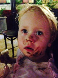 Chelsea, she had half cleaned her face up after eating chocolate ice-cream with her hands
